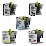 Compatible Brother LC203 Set of 5 Ink Cartridge Includes: 2 LC203BK, 1 LC203C, 1 LC203M, 1 LC203Y- Replacement Ink Catridge for MFC-J4320DW, MFC-J4420DW, MFC-J4620DW, MFC-J5520DW, MFC-J5620DW, MFC-J5720DW
