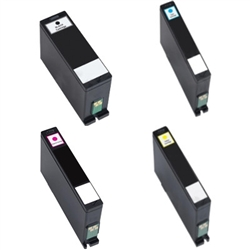 Replaces Dell 331-7417, 331-7378, 331-7379, 331-7380 - Remanufactured Extra-High Yield Ink Cartridge Set of 4 for Dell All-in-One V525w, V725w
