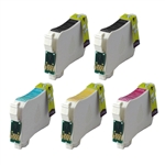 Replaces Epson T124 - Remanufactured for Epson T124120, T124220, T124320, T124420 Moderate Yield Ink Cartridge Set of 5