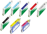 Replaces Epson T054 - Remanufactured for Epson T0540, T0541, T0542, T0543, T0544, T0545, T0546, T0547, T0548 Ink Cartridge Set of 8 for Stylus Photo R1800, R800