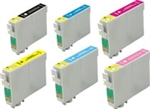 Replaces Epson T079 - Remanufactured for Epson T079120, T079220, T079320,T079420, T079520, T079620 Ink Cartridge Set of 6 for Stylus Photo 1400