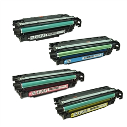 Remanufactured HP Color LaserJet CM3530, CP3525 4-Color Toner Set