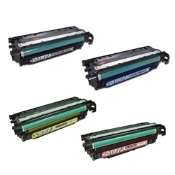 Replaces HP 504A - Remanufactured for HP CE250X, CE251A, CE252A, CE253A Laser Toner Cartridge Set of 4 for LaserJet CP3525, CM3530 Printer Series