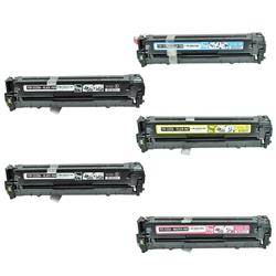Replaces HP 128A - Remanufactured for HP CE320A, CE321A, CE322A, CE323A Laser Toner Cartridge Set of 5 for Color LaserJet CM1415, CP1525