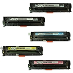 Remanufactured HP CP1215, CP1515, CP1518 5-Pack Laser Toner Set