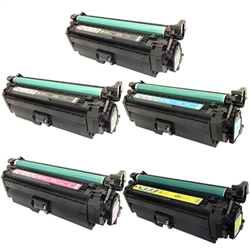 Remanufactured HP 652A, 653A 5-Pack Laser Toner Cartridge Set