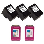 Remanufactured HP 60XL High Capacity Ink Cartridges Set of 5
