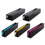Replaces HP 970XL, 971XL - Remanufactured for HP CN625AM, CN626AM, CN627AM, CN628AM High Yield Ink Cartridge Set of 5