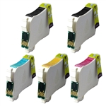 Compatible Epson T126  T126120, T126220, T126320, T126420 High Capacity Ink Cartridge Set of 5 for Compatible Epson WorkForce 60