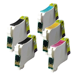 Replaces Epson T127 - Remanufactured for Epson T127120, T127220, T127320, T127420 Extra High Capacity Ink Cartridge Set of 5 for Epson WorkForce 60