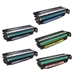 Remanufactured HP Color LaserJet CM3530, CP3525 5-Pack Laser Toner Set