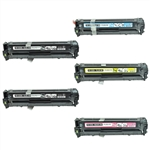 Compatible HP 128A  for HP CE320A, CE321A, CE322A, CE323A Laser Toner Cartridge Set of 5 for Color LaserJet CM1415, CP1525