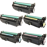 Remanufactured HP 652A, 654A 5-Color Laser Toner Cartridge Set