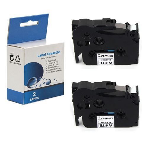2PK TZeS231 TZ S231 Black on White Label Tape For Brother P-Touch PT-1090 12mm